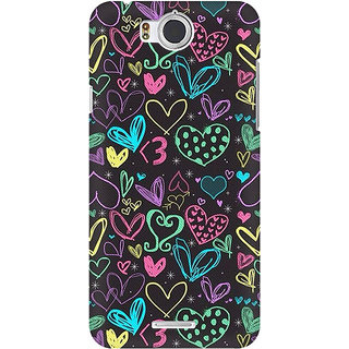 RAYITE Colourful Hearts Sketch Premium Printed Mobile Back Case Cover For InFocus M530