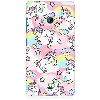 RAYITE Heart Unicorn Pattern Premium Printed Mobile Back Case Cover For Nokia Lumia 540