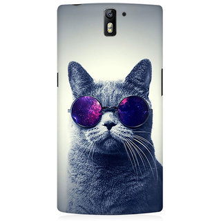 RAYITE Cool Cat Premium Printed Mobile Back Case Cover For OnePlus One