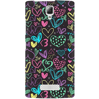 RAYITE Colourful Hearts Sketch Premium Printed Mobile Back Case Cover For Lenovo A2010