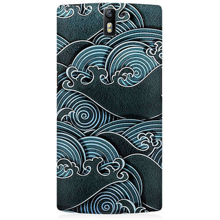 RAYITE Black Sea Waves Premium Printed Mobile Back Case Cover For OnePlus One