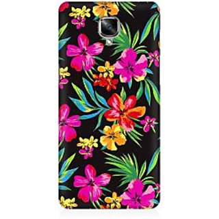RAYITE Dark Watercolor Floral Premium Printed Mobile Back Case Cover For OnePlus Three
