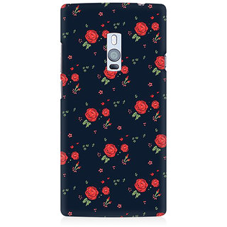 RAYITE Rose Pattern Premium Printed Mobile Back Case Cover For OnePlus Two