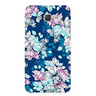 RAYITE Blue Floral Hub Premium Printed Mobile Back Case Cover For Samsung J1 2016 Version
