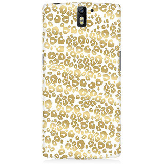 RAYITE Golden Cheetah Pattern Premium Printed Mobile Back Case Cover For OnePlus One