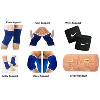Multicolor Gym Combo of Knee Support, Ankle Support, Palm Support, Elbow Support, Wrist Band  Crepe Bandage