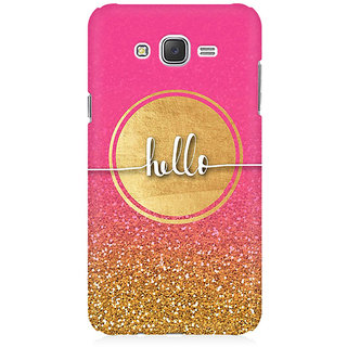 RAYITE Hello Glitter Print Premium Printed Mobile Back Case Cover For Samsung J5