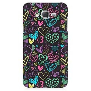 RAYITE Colourful Hearts Sketch Premium Printed Mobile Back Case Cover For Samsung J2