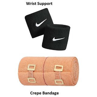 Gym Combo of Wrist Band Crepe Bandage