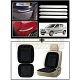 Vheelocity Chrome Car Bumper Safety Guard Protectors + Car Wooden Bead Seat Cushion With Black Velvet Border