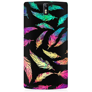 RAYITE Colourful Leaf Premium Printed Mobile Back Case Cover For OnePlus One