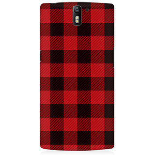 RAYITE Plaid Pattern Premium Printed Mobile Back Case Cover For OnePlus One