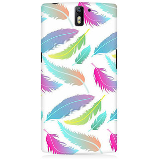 RAYITE Colourful Leafy Pattern Premium Printed Mobile Back Case Cover For OnePlus One