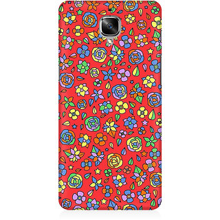 RAYITE Orange Floral Hub Premium Printed Mobile Back Case Cover For OnePlus Three