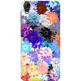 RAYITE Colourful Floral Premium Printed Mobile Back Case Cover For HTC Desire 728
