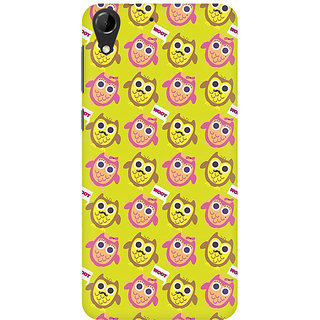 RAYITE Hoot Owl Pattern Premium Printed Mobile Back Case Cover For HTC Desire 728