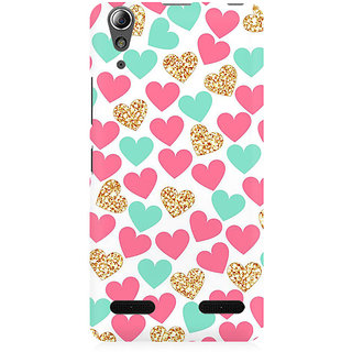 RAYITE Gold Pink Heart Pattern Premium Printed Mobile Back Case Cover For Lenovo A6000