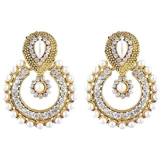 Jewels Capital Exclusive Golden White Earrings Set /S 1584