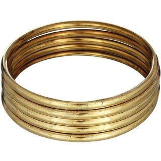 Smooth shiny plain thin brass bangles set of 5