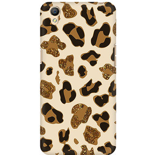 RAYITE Glitter Print Cheetah Pattern Premium Printed Mobile Back Case Cover For Oppo A37