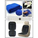 Vheelocity Multi Purpose Microfiber Dry Wet Cleaning Polishing Cloth + Car Wooden Bead Seat Cushion With Grey Velvet Border