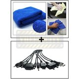 Vheelocity Multi Purpose Microfiber Dry Wet Cleaning Polishing Cloth + Titoni 11 In 1 Universal Car Mobile Charger