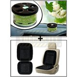 Vheelocity Aromate Organic Car Perfume Air Freshener - Jasmine + Car Wooden Bead Seat Cushion With Black Velvet Border