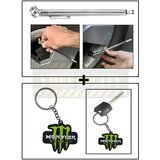 Vheelocity Car Auto Tire Tyre Pressure Gauge Guage Chrome Coating Pen Type For All Cars And Bikes + Rubber Monster 'M' Keychain/Keyring For Bike/Car