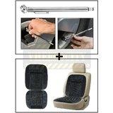 Vheelocity Car Auto Tire Tyre Pressure Gauge Guage Chrome Coating Pen Type + Car Wooden Bead Seat Cushion With Grey Velvet Border