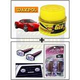 Vheelocity Waxpol Ultra Glo Polish With Uv Guard 100Gms + Aromate Aroma Clip Unique Car Perfume