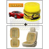 Vheelocity Waxpol Ultra Glo Polish With Uv Guard 100Gms + Car Wooden Bead Seat Cushion With Beige Velvet Border
