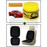 Vheelocity Waxpol Ultra Glo Polish With Uv Guard 100Gms + Car Wooden Bead Seat Cushion With Black Velvet Border