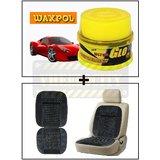 Vheelocity Waxpol Ultra Glo Polish With Uv Guard 100Gms + Car Wooden Bead Seat Cushion With Grey Velvet Border