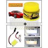 Vheelocity Waxpol Ultra Glo Polish With Uv Guard 100Gms + Super Bright Car Roof Light / Dome Light - Square