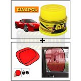 Vheelocity Waxpol Ultra Glo Polish With Uv Guard 100Gms + Car Side Window Sunshades Stick On Sun Shade - Set Of 2 Pcs (Red)