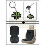 Vheelocity Rubber Monster 'M' Keychain/Keyring For Bike/Car + Car Wooden Bead Seat Cushion With Grey Velvet Border