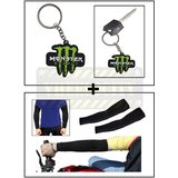 Vheelocity Rubber Monster 'M' Keychain/Keyring For Bike/Car + Stylish Biking / Sports Arm Sleeves Black - 1 Pair (2 Pcs.)