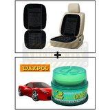 Vheelocity Car Wooden Bead Seat Cushion With Black Velvet Border + Waxpol 2 In 1 Cleaner Cum Polish 100G