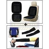 Vheelocity Car Wooden Bead Seat Cushion With Black Velvet Border + Stylish Biking / Sports Arm Sleeves Black - 1 Pair (2 Pcs.)