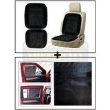 Vheelocity Car Wooden Bead Seat Cushion With Black Velvet Border + Electrostatic Car Sunshades That Stick Without Any Suction Or Tape
