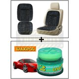 Vheelocity Car Wooden Bead Seat Cushion With Grey Velvet Border + Waxpol 2 In 1 Cleaner Cum Polish 100G