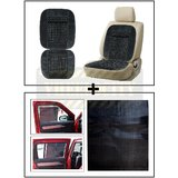 Vheelocity Car Wooden Bead Seat Cushion With Grey Velvet Border + Electrostatic Car Sunshades That Stick Without Any Suction Or Tape