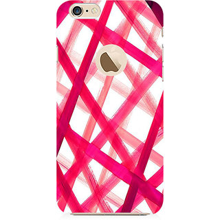RAYITE Pink Criss Cross Preum Printed Mobile Back Case Cover For   6-6s With  Hole