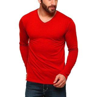 Buy Men s V-Neck Full Sleeves Tshirt Red Online   ₹680 from ShopClues 01326ed9e