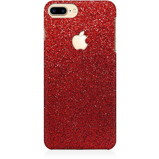 RAYITE Red Glitter Print Premium Printed Mobile Back Case Cover For Apple IPhone 7 Plus Apple Logo Cut