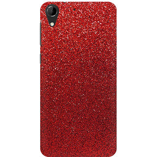 RAYITE Red Glitter Print Premium Printed Mobile Back Case Cover For HTC Desire 728
