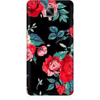 RAYITE Black Rose Print Premium Printed Mobile Back Case Cover For OnePlus Three