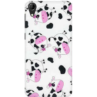 RAYITE Cute Cow Pattern Premium Printed Mobile Back Case Cover For HTC Desire 728