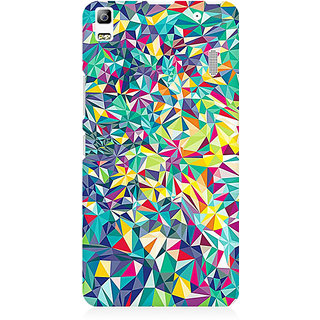 RAYITE Colourful Triangles Abstract Premium Printed Mobile Back Case Cover For Lenovo A7000