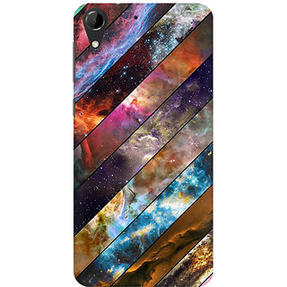 RAYITE Galaxy Wood Pattern Premium Printed Mobile Back Case Cover For HTC Desire 728